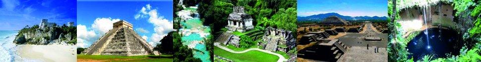 Tulum, Chichen-Itza, Palenque, Teotihuacan, Cenote